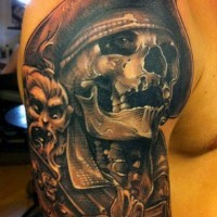Brilliant designed and colored massive pirate skeleton shoulder tattoo with monkey