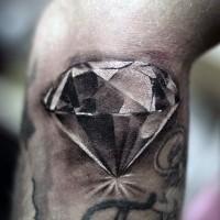 Brilliant detailed black and white diamond realistic tattoo