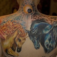 Brilliant looking multicolored fantasy horses tattoo on back and shoulder with nice sun