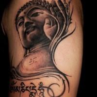 Buddha und buddhistische Symbolik Tattoo auf der Schulter