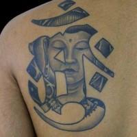 Buddha and hieroglyph tattoo on shoulder blade