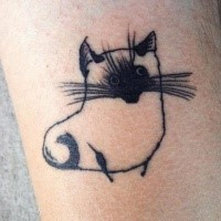Carelessly painted black ink tattoo of funny cat