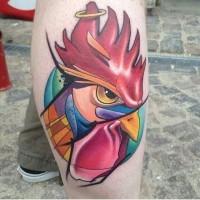 cartone animato gallo colorato tatuaggio per ragazzi