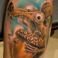 Cartoon ice squirrel tattoo with nut
