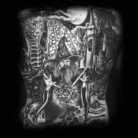 Cartoon like black and white fantasy world with wizard and dragon tattoo on whole back