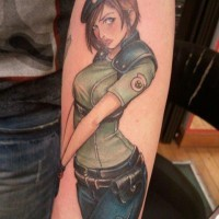 Cartoon like colored seductive military woman tattoo on arm