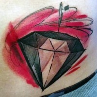 Cartoon like designed and colored little diamond tattoo on waist
