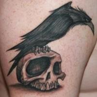 cartone animato dipinto nero e bianco cervo su cranio tatuaggio