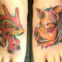 Cartoon pig and rooster tattoo on foot