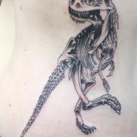 Cartoon Stil schwarzes Seite Tattoo von Dinosaurier Skelett