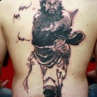 Cartoon style black ink whole back tattoo of Japanese warrior with bats