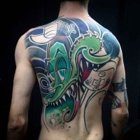 Cartoon style colored back tattoo of creepy dragon