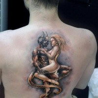Cartoon style colored back tattoo of devil with naked woman