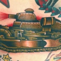 cartoon style colored chest tattoo of small old tank