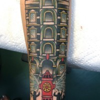 Cartoon style colored forearm tattoo of interesting house with fire hydrant