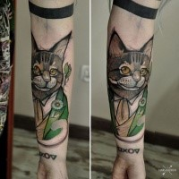 Cartoon style colored forearm tattoo of funny looking cat in suit