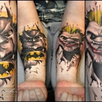Cartoon style colored forearm tattoo of panda Batman and panda Joker