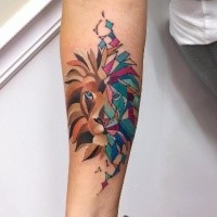 Cartoon style colored forearm tattoo of tiger stylized with geometrical figures