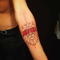 Cartoon style colored forearm tattoo of lion head with red line