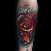 Cartoon style colored forearm tattoo of red rose with pills