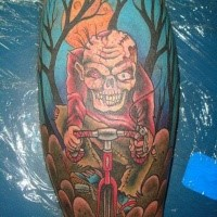 Cartoon style colored leg muscle tattoo of zombie bicycle rider