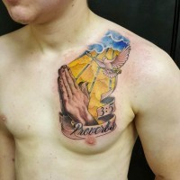 Cartoon style colored praying hands tattoo combined with pigeon and lettering