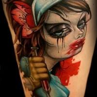 cartone animato stile colorato sexy zombie infermiera maniaca tatuaggio su coscia