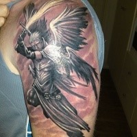 Cartoon style colored shoulder tattoo of angel warrior