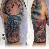 Cartoon style colored shoulder tattoo of pirate ship with Peter Pan