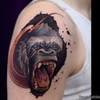 Cartoon style colored shoulder tattoo of crazy monkey