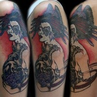 Cartoon style colored shoulder tattoo of woman with animal head