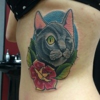 Cartoon style colored side tattoo of amazing cat with flowers