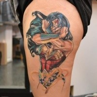 Cartoon style colored tattoo of fantasy woman warrior