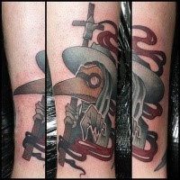 Cartoon style colored tattoo of funny looking plague doctor with smoke