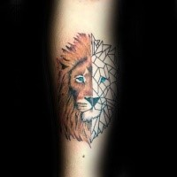 Cartoon style colored tattoo of lion head with blue eyes