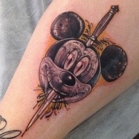 Cartoon style funny looking Mickey Mouse head with dagger