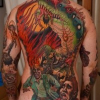 Cartoon style illustrative whole back tattoo of evil dragon with scary humans