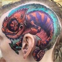 Cartoon style large funny looking head tattoo of big lizard