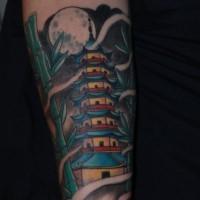 Cartoonischer Stil kleines Unterarm Tattoo des asiatischen Tempels und des Bambusses