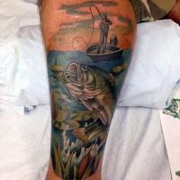 cartone animato stile dipinto colotato grande pesce uncinato tatuaggio su gamba