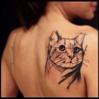 Cat tattoo of geometric lines by Victor Montaghini