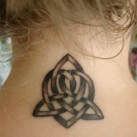 Celtic knot tattoo on neck for girls