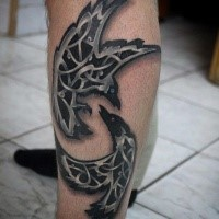 Celtic style colored leg tattoo of flying crows