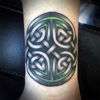 Celtic style colored wrist tattoo of interesting symbol