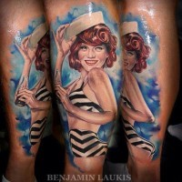 Charming sailor pin up girl tattoo by Benjamin-Laukis