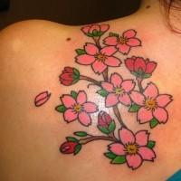 Tatuaje  de cerezo en flor