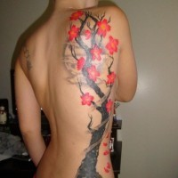 Cherry blossom tree tattoo on ribs