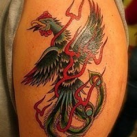 Chinese hand tattoo with big bird in colors