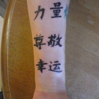 Chinese symbols tattoo luck respect strength
