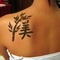 Chinese tattoo branch and character